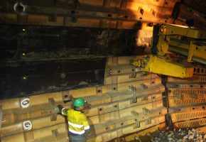 Shell liner being positioned inside Sag Mill